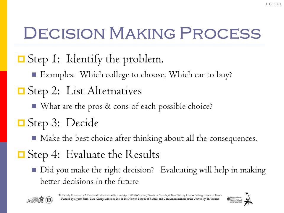 outline the steps in the decision making process The accurate definition of the problem affects all the steps that follow if the problem is inaccurately defined, every step in the decision‐making process will be based on an incorrect starting point.