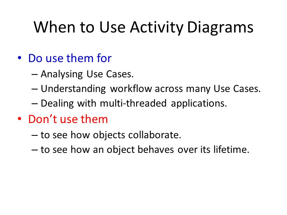 Uml activity diagram 1 recap formal use case diagram uml notation when to use activity diagrams do use them for analysing use cases ccuart Image collections
