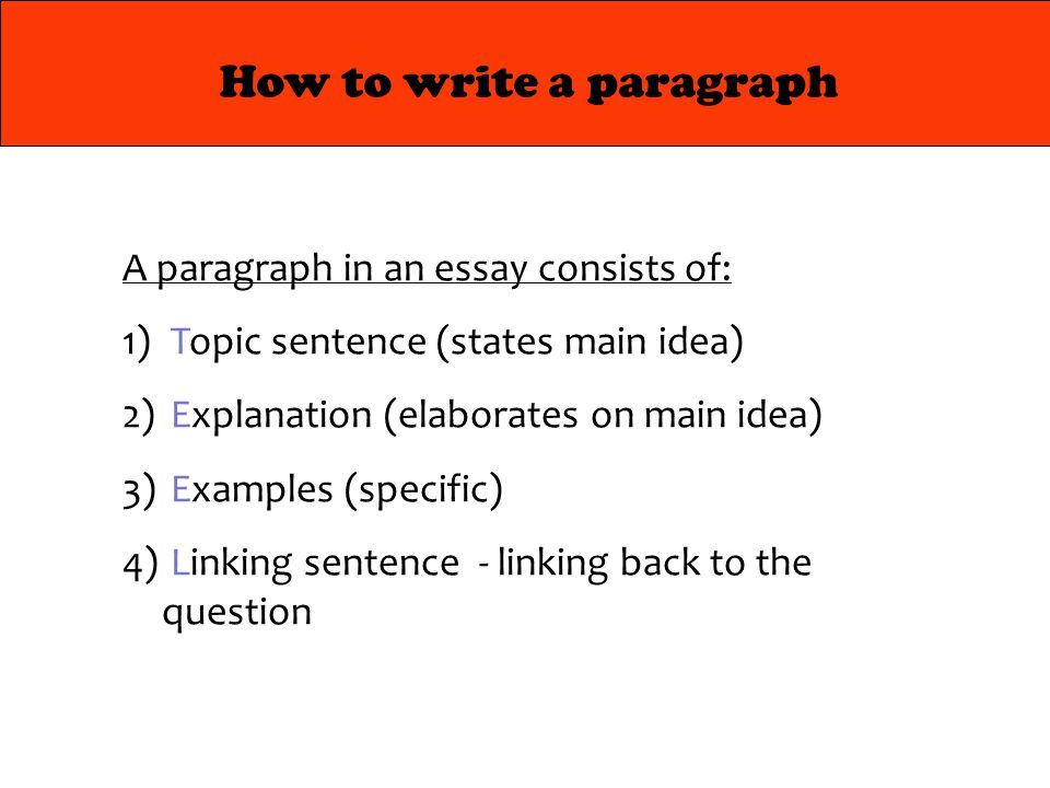 4 how to write a paragraph a paragraph in an essay consists of 1 topic sentence states main idea 2 explanation elaborates on main idea 3 examples