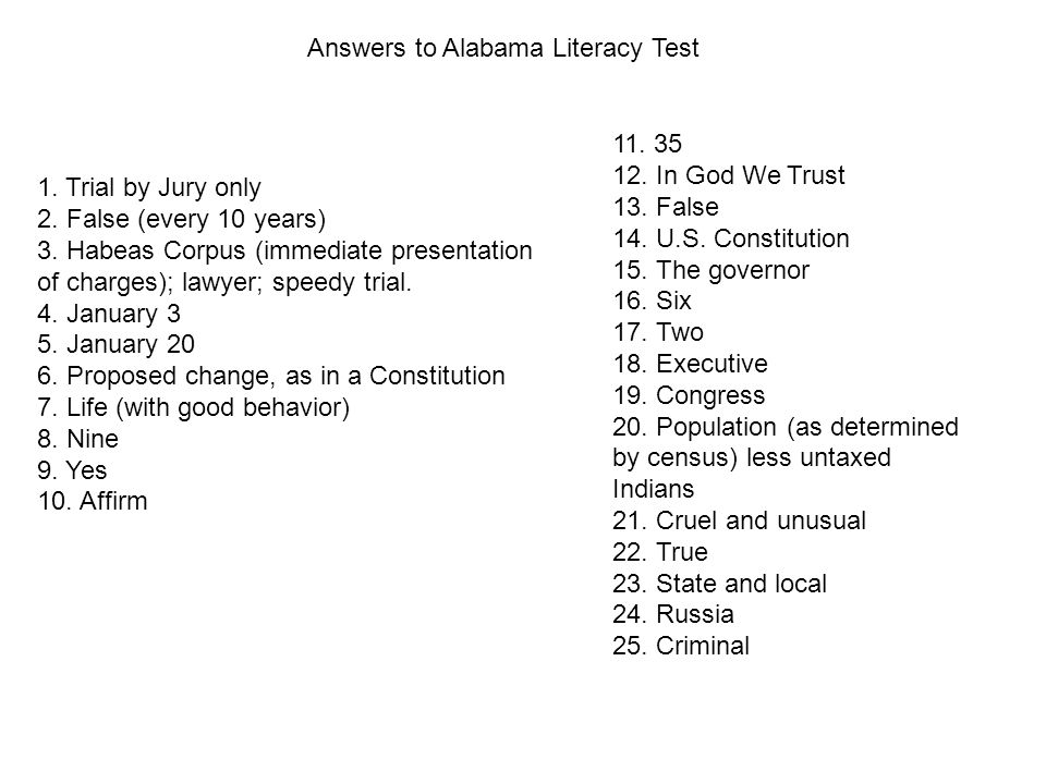 Do Now Quickly Take The 1965 Literacy Test From Alabama Aim What