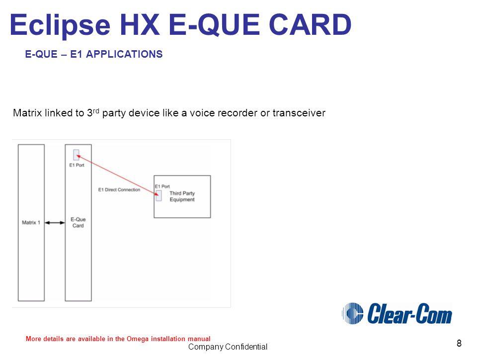 Eclipse HX E-QUE trunking card  Company Confidential 2 Eclipse HX E