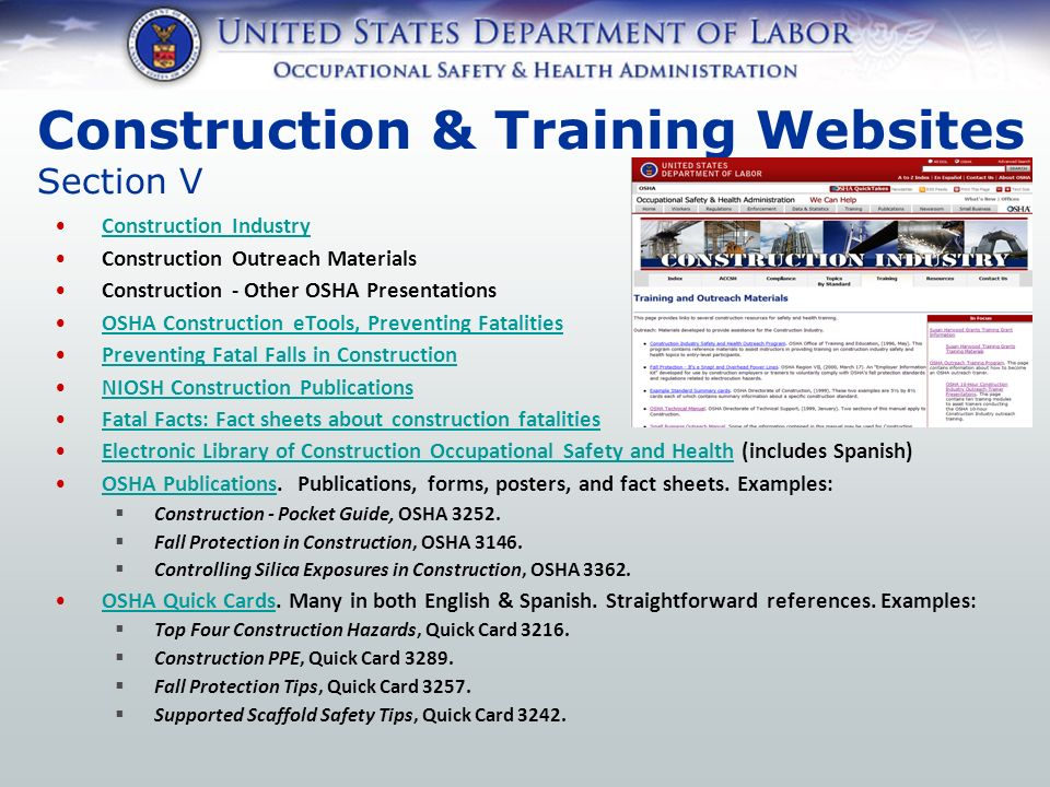 Outreach Training Program Construction Industry Procedures