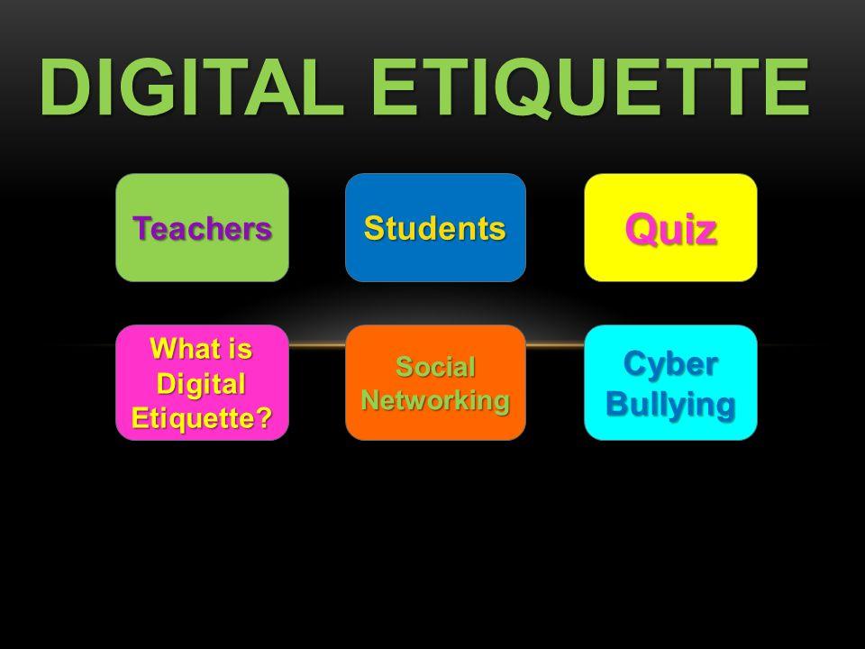 DIGITAL ETIQUETTE Teachers Students Quiz What Is Digital Etiquette