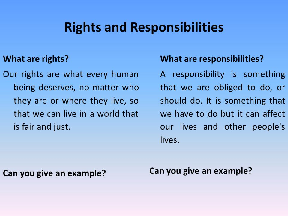 Rights And Responsibilities Li To Be Able To Explain And Give