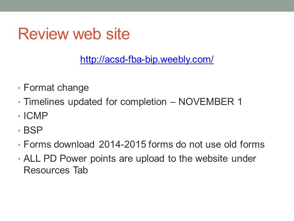 Welcome back! Cathy and brianna. Review web site format change.