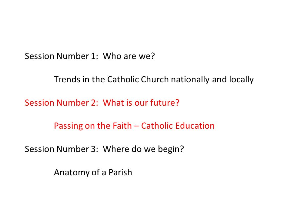 Session Number 1: Who are we? Trends in the Catholic Church ...