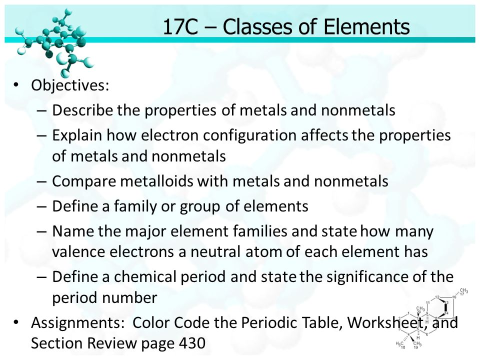 Unit 5 the structure of matter chapter 17 the elements and the 7 17c classes of elements urtaz Choice Image