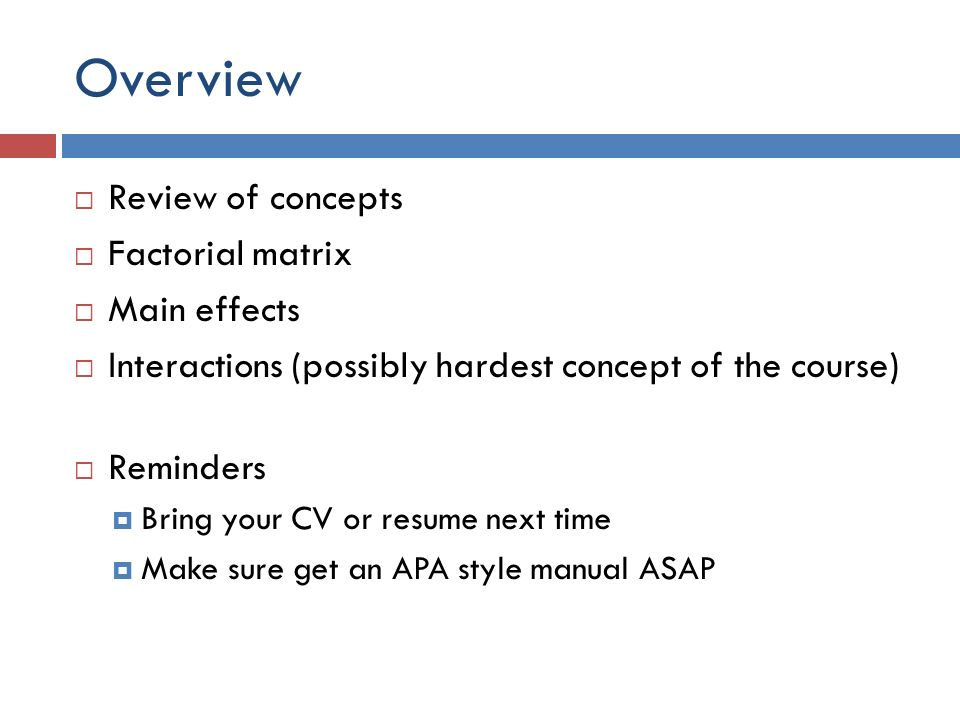 Experiments Part 4 Overview Review Of Concepts Factorial