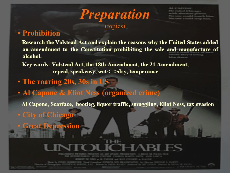 Preparation (topics) Prohibition Research the Volstead Act and explain the reasons why the United States added an amendment to the Constitution prohibiting the sale and manufacture of alcohol.