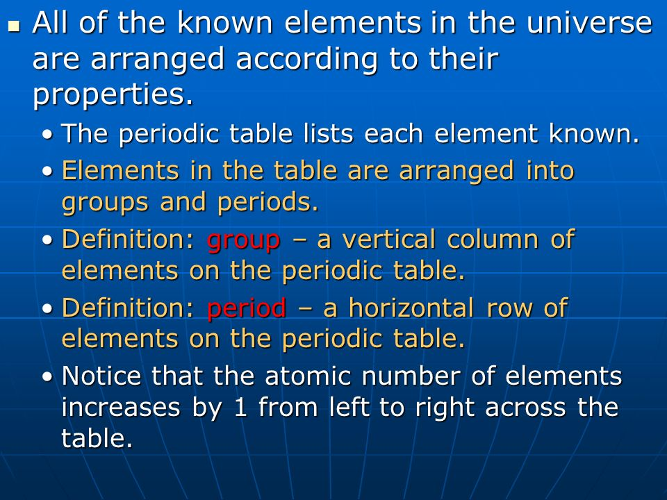 Introduction to atoms and the periodic table section 1 atomic all of the known elements in the universe are arranged according to their properties urtaz Images