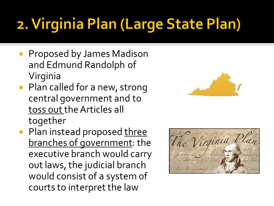 history of the virginia plan Virginia plan - the virginia plan was written by james madison it represented the desires of the larger states and said that the number of representatives to congress should be based on the state's population.