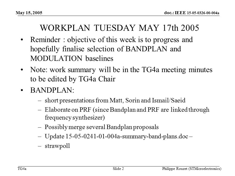doc ieee a tg4a may 15 2005 philippe rouzet stmicroelectronics