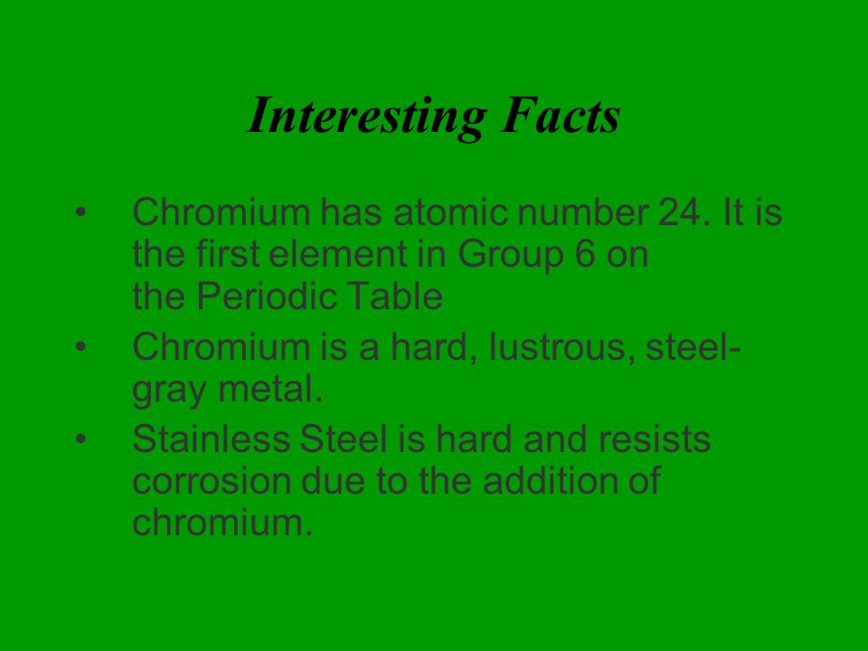 Chromium by collin clingerman periodic table information chromium 10 interesting urtaz Image collections