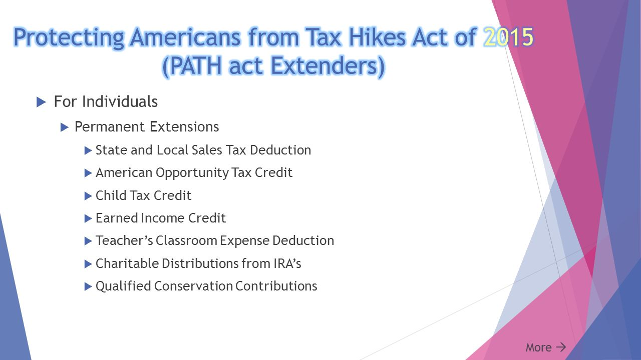 2015 Tax Update Tom Krauss, CPA MST.  PATH act Extenders  NEW ...