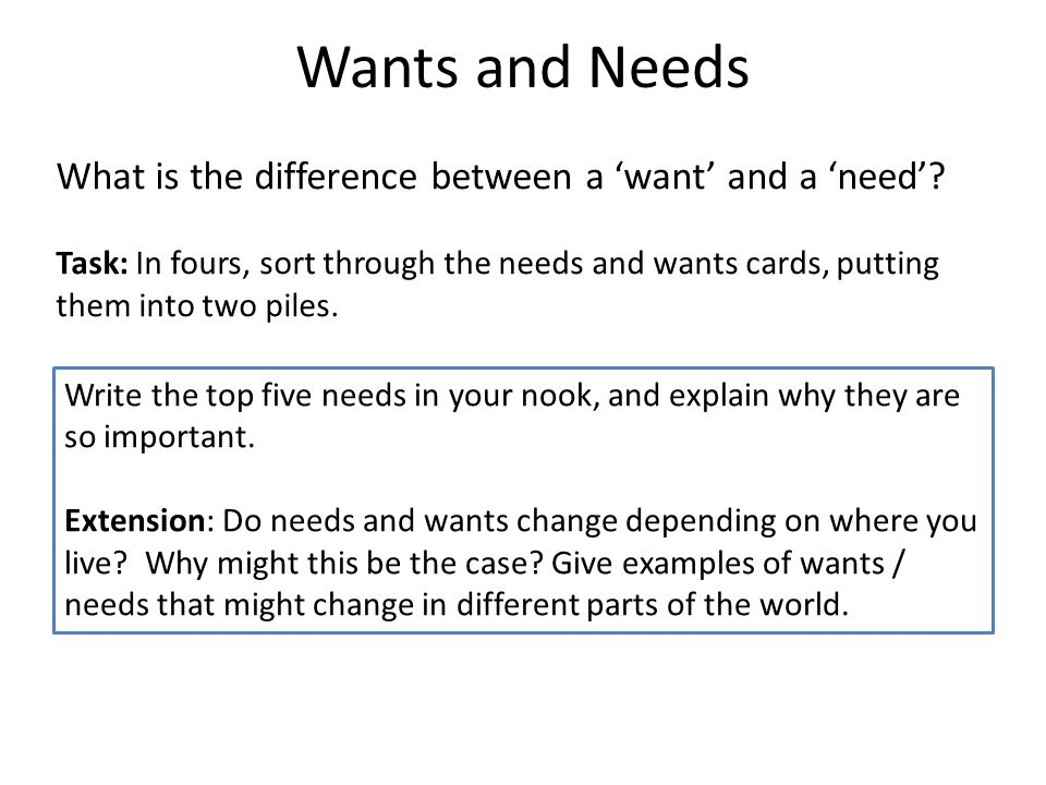 difference between needs and wants The same goes with want and needs, without any wants, there no need to have a need ― temitope owosela tags: believe-in-yourself , faith , hope , needs , success , wants.