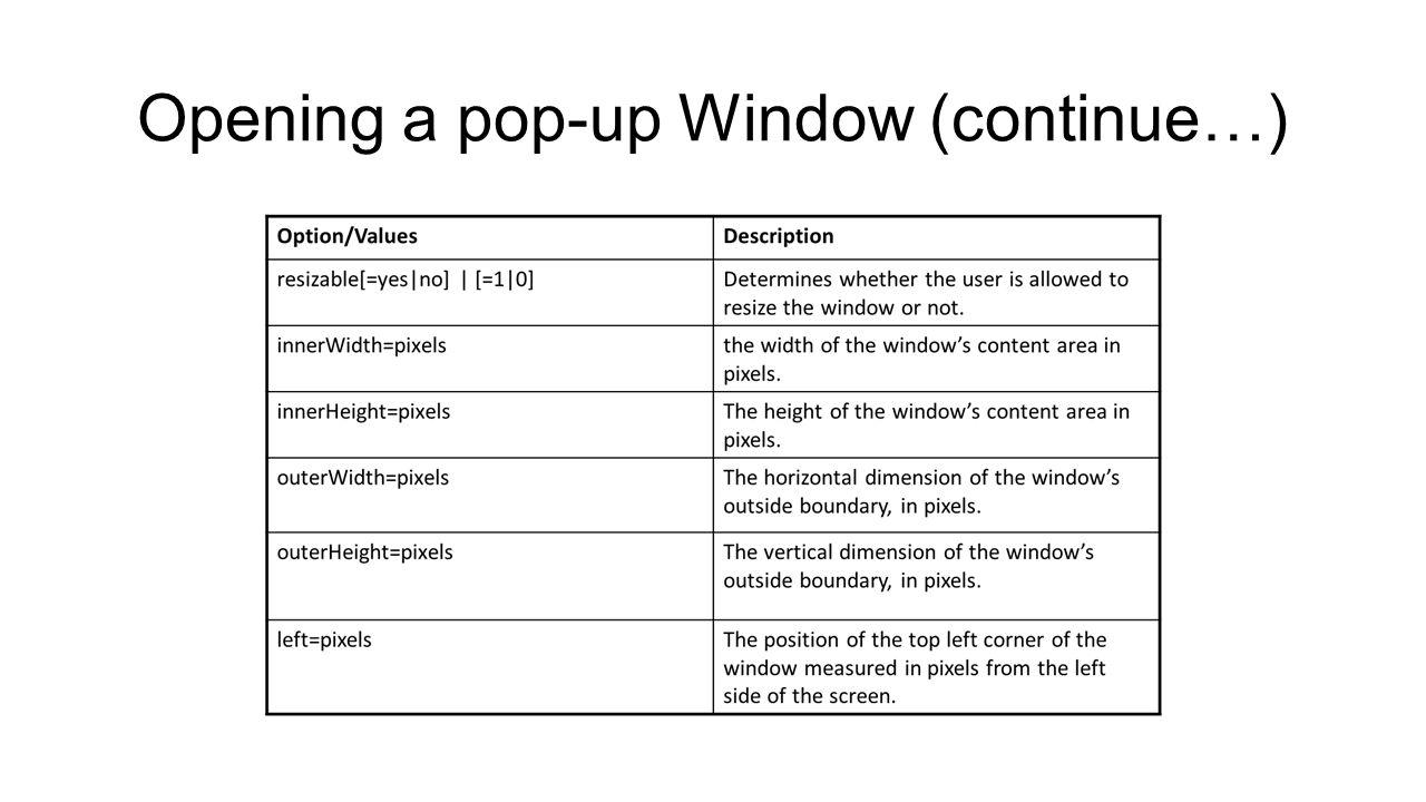 JavaScript and Ajax (JavaScript window object) Week 6 Web site