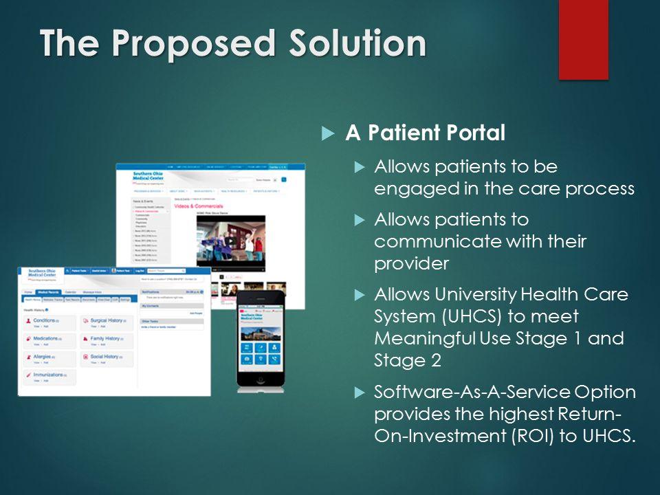 Patient Portal Proposal HTM 660 System Management & Planning