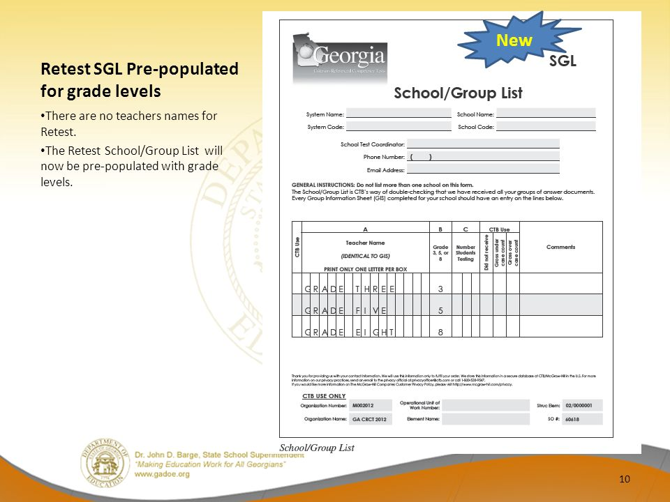 Retest SGL Pre-populated for grade levels There are no teachers names for Retest.