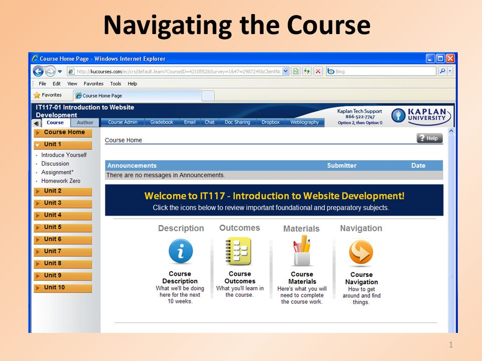 Navigating the Course 1  Course Materials 2 Software