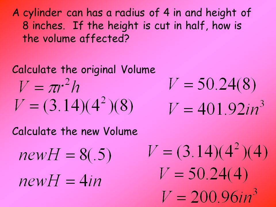 A cylinder can has a radius of 4 in and height of 8 inches.