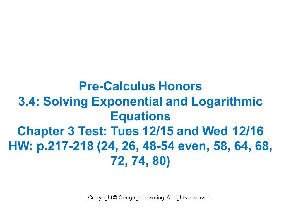 Copyright © Cengage Learning. All rights reserved. Pre-Calculus ...