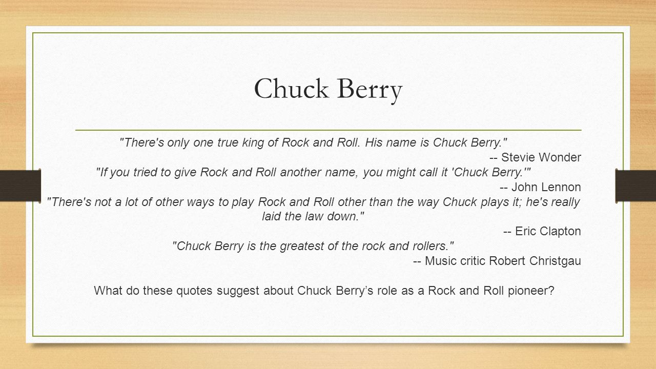 Pioneers Of Rock Roll Day 4 We Will Evaluate Berrys Role As A
