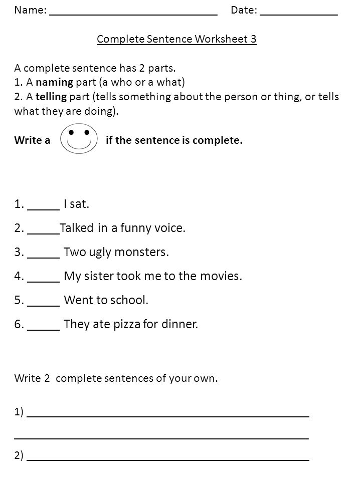 Name: : ______ Complete Sentence Worksheet 1 A complete sentence has ...