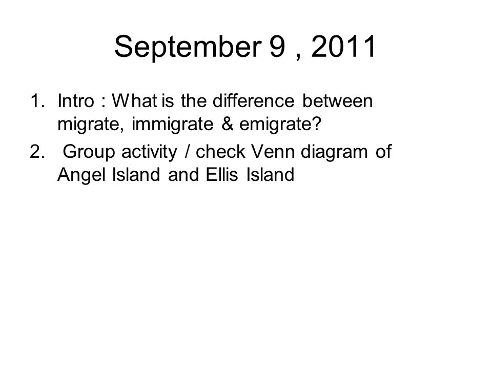 September 9 Intro What Is The Difference Between Migrate