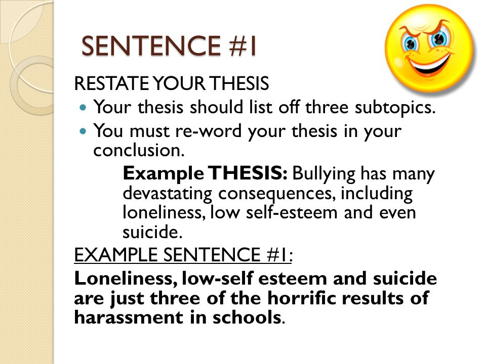 The CONCLUSION By Miss Cook. SENTENCE #1 RESTATE YOUR THESIS Your Thesis  Should List Off Three Subtopics. You Must Re-word Your Thesis In Your  Conclusion. - Ppt Download