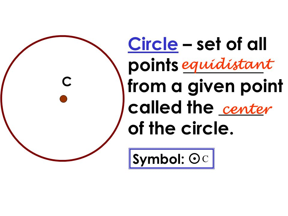 Circle Vocabulary Circle Set Of All Points From A Given