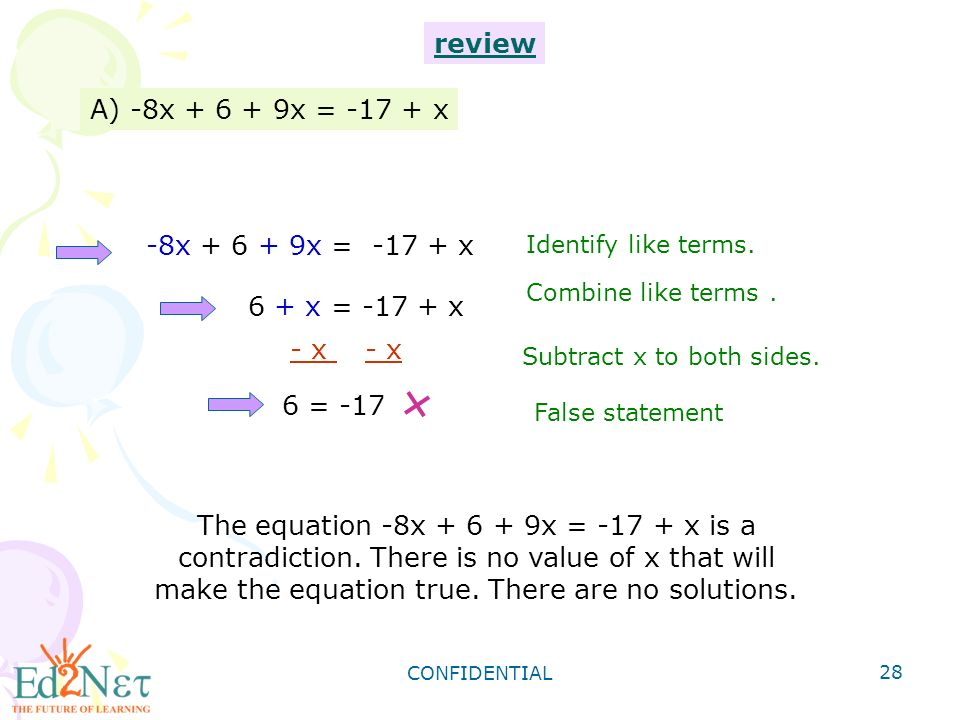 CONFIDENTIAL 28 A) -8x x = x Identify like terms.