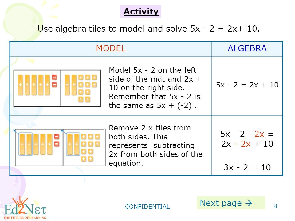 CONFIDENTIAL 4 Activity Use algebra tiles to model and solve 5x - 2 = 2x+ 10.