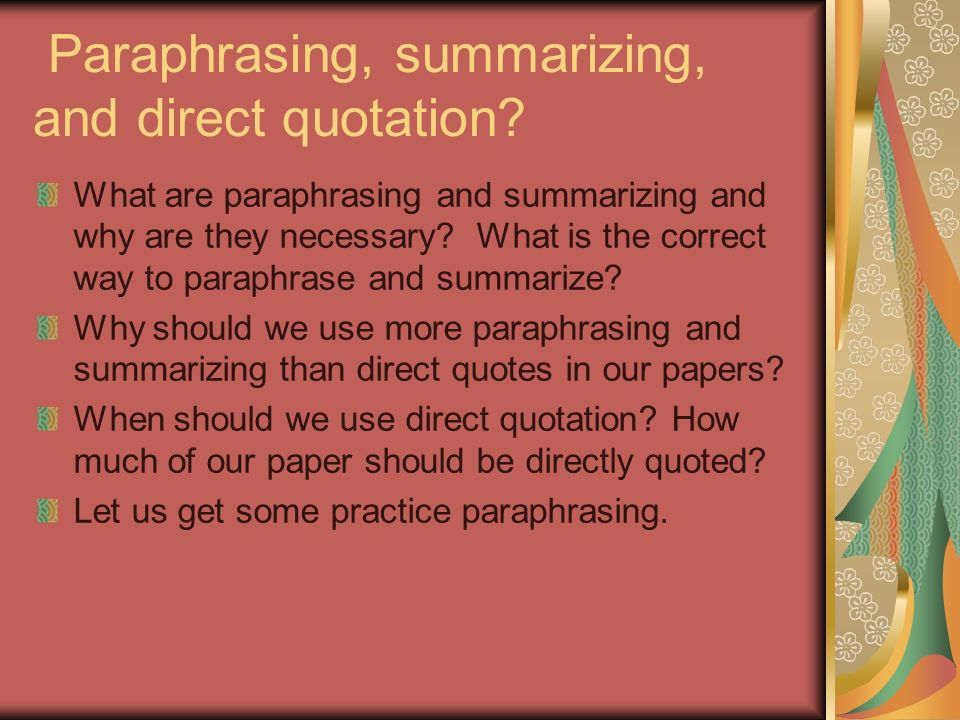 correct way to paraphrase