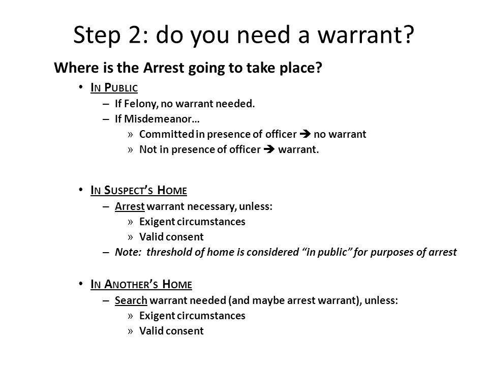 BLAW 108 CRIMINAL PROCEDURE  Arrest Step 1: Is there