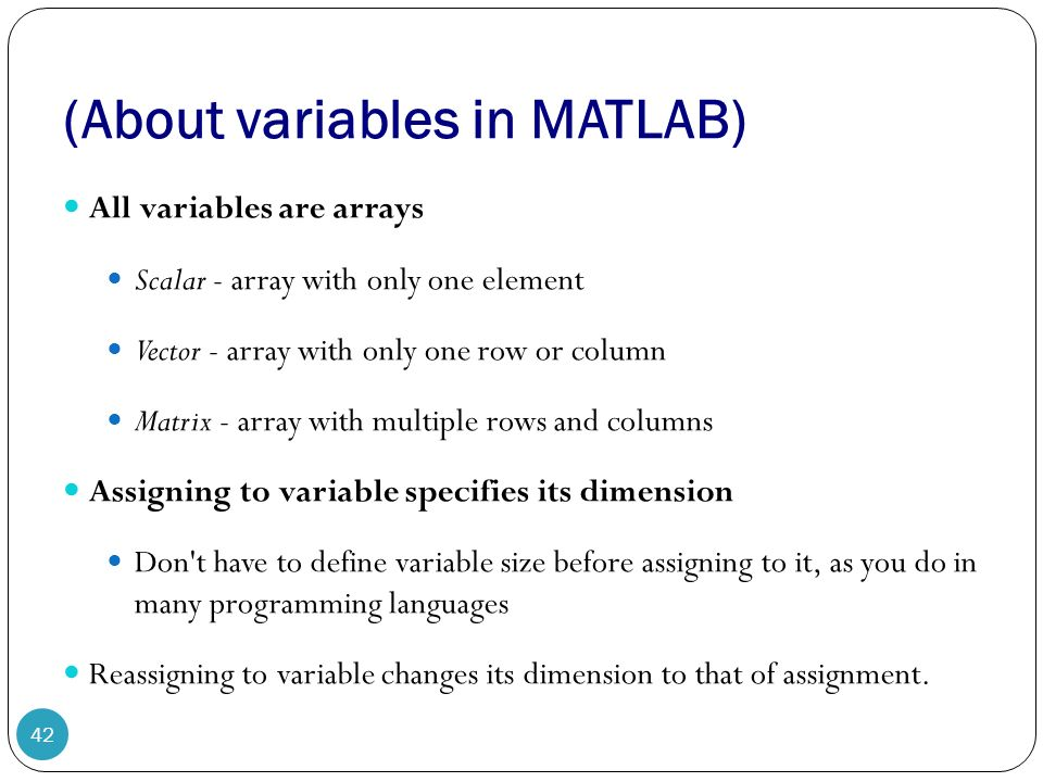 Manipulating MATLAB Vector, Matrices 1  Variables and Arrays