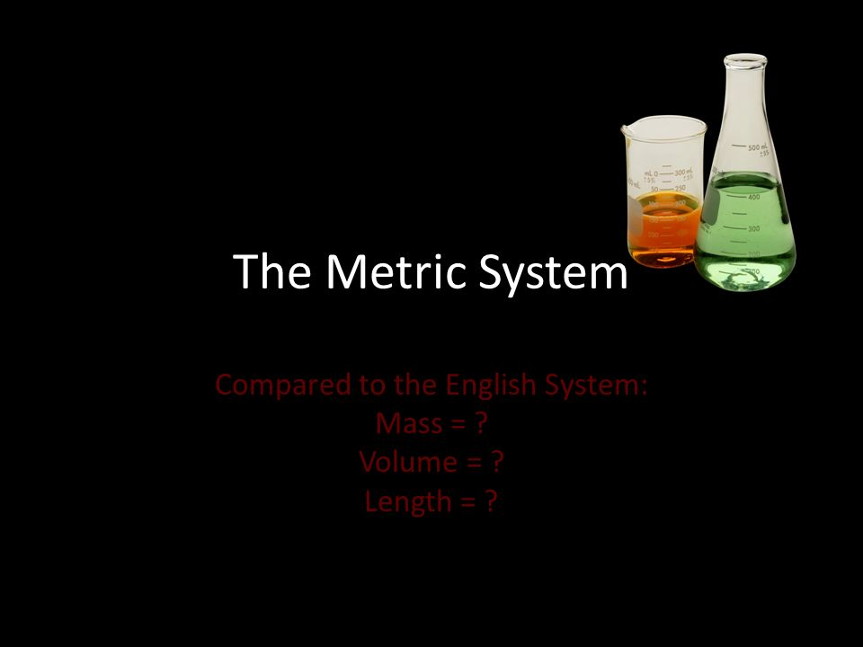 The Metric System Compared to the English System: Mass = Volume = Length =