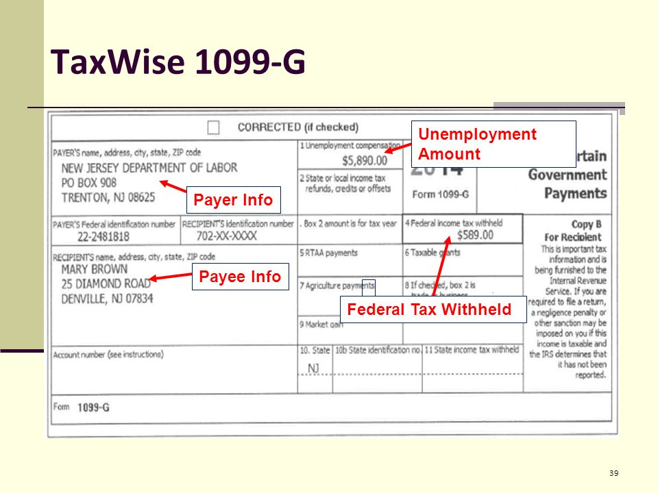 1099 form nj  Entering Basic Taxpayer Information into TaxWise Pub ppt ...
