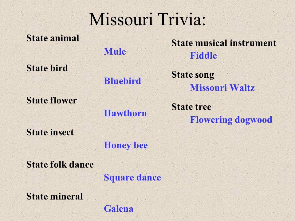 Bellringer 1 Identify Mo's state bird, flower, dance, song