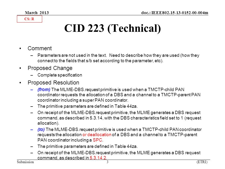 March 2013 doc.: IEEE m Submission 3 (ETRI) CID 223 (Technical) Comment –Parameters are not used in the text.
