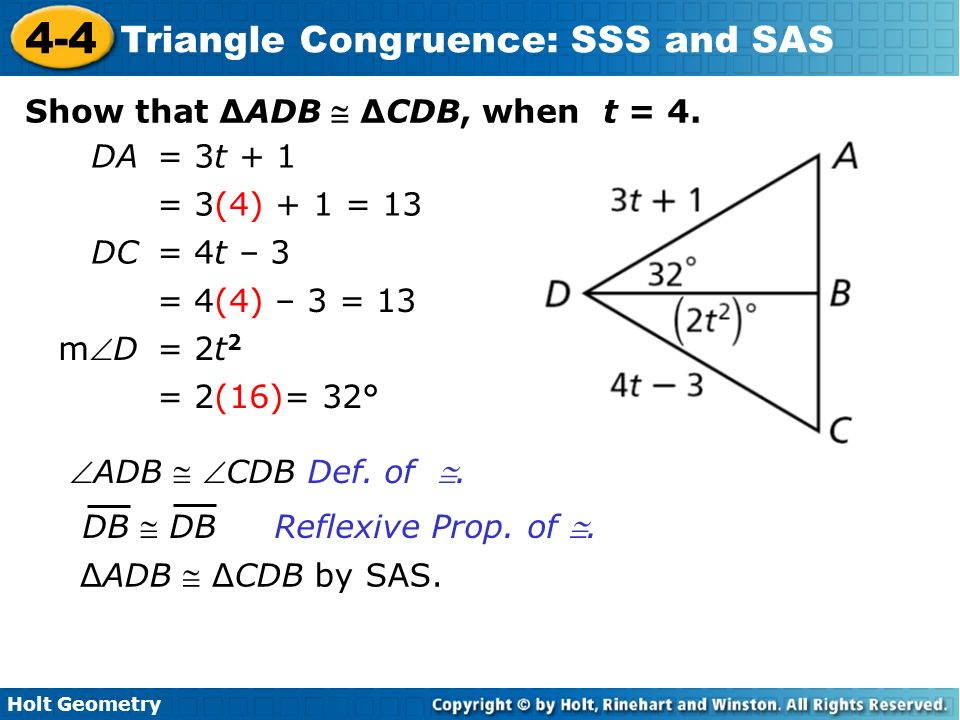 4-5 problem solving triangle congruence sss and sas
