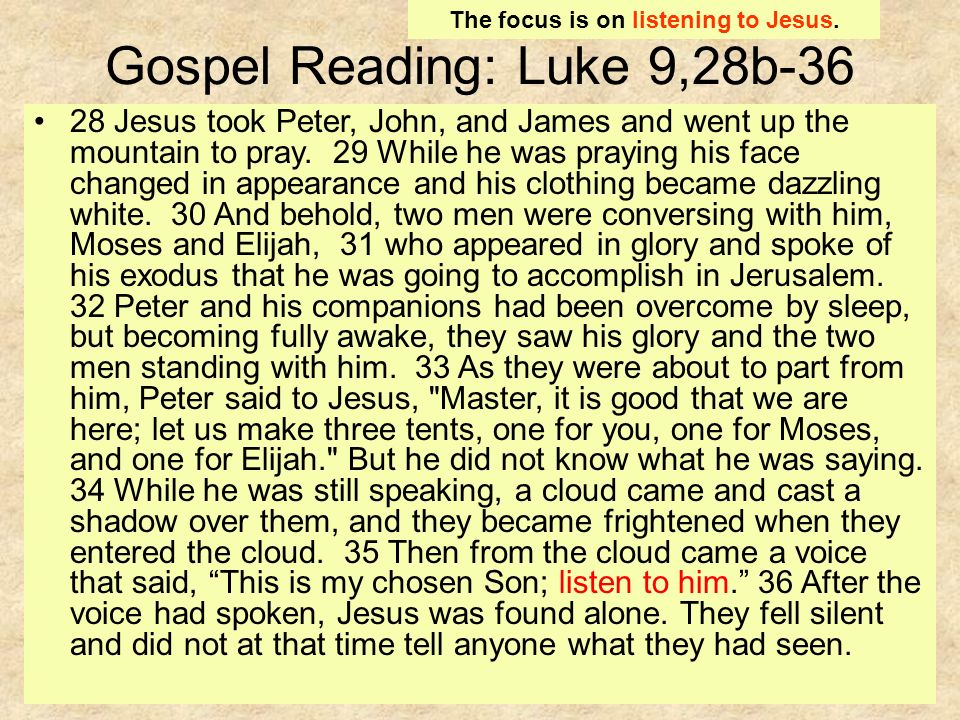Gospel Reading: Luke 9,28b Jesus took Peter, John, and James and went up the mountain to pray.