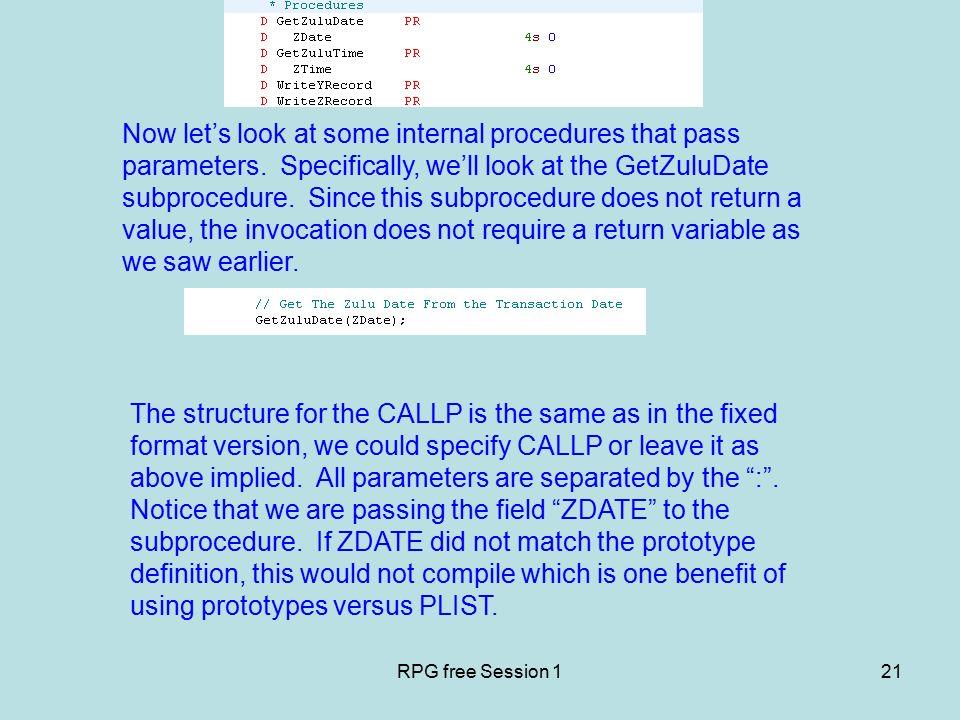 """RPG free basics Session 1  RPG free Session 12 """"C"""" Spec"""