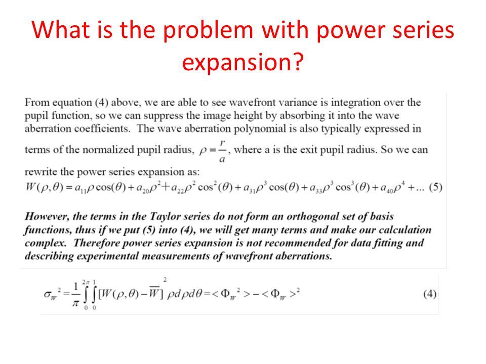 Strehl ratio, wavefront power series expansion & Zernike polynomials