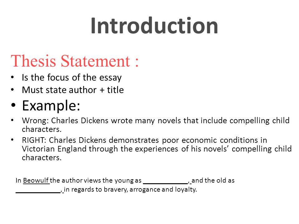 Introduction Thesis Statement Is The Focus Of Essay Must State Author Title Example