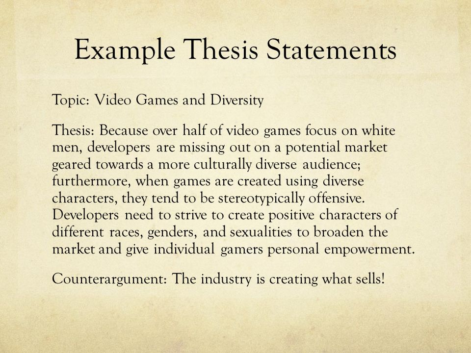 give an example of a thesis statement