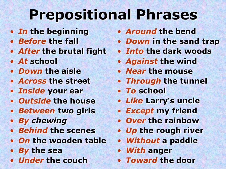 prepositional phrases prepositions a preposition describes a