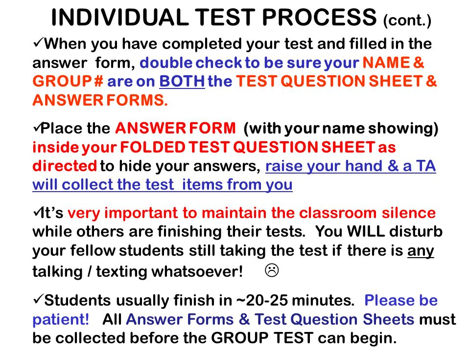 SIT IN THE GENERAL VICINITY OF YOUR GROUP AREA TODAY TODAY: TEST #1