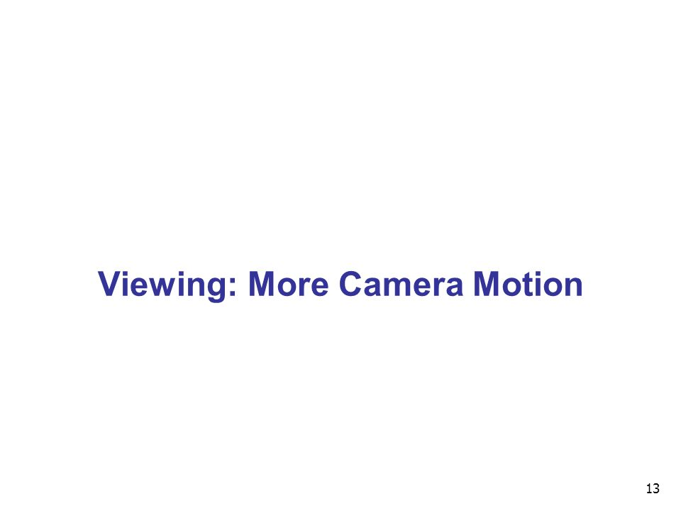 13 Viewing: More Camera Motion