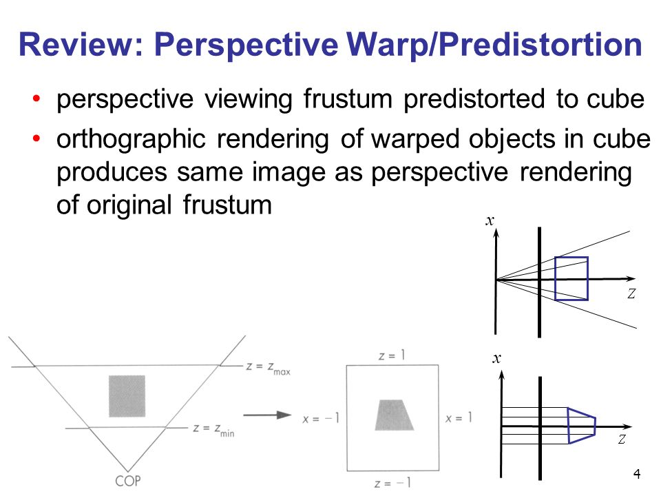 4 Review: Perspective Warp/Predistortion perspective viewing frustum predistorted to cube orthographic rendering of warped objects in cube produces same image as perspective rendering of original frustum x x