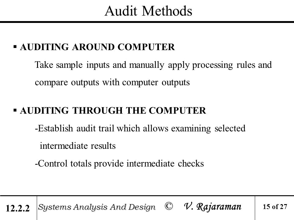 Auditing Of Information Systems Systems Analysis And Design C Systems Analysis And Design C V Rajaraman Objectives Ensure Computer Based Financial And Ppt Download